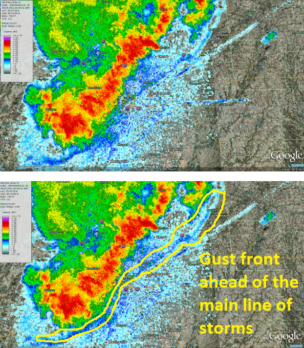 Squall line approaching Indianapolis on 8. 13. 2011 with gust front
