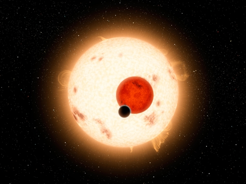 Space art visualizing new planet that orbits two suns.