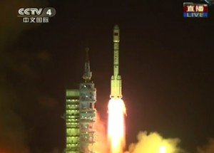 Liftoff of China's Long March-2FT1 rocket carrying the Tiangong-1 station module.