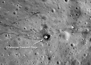 Burn marks on moon's surface at Apollo 17 landing site (NASA/ASU)