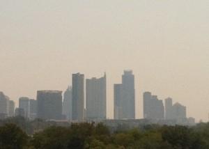 Smoke over Austin at midday, September 7, 2011.