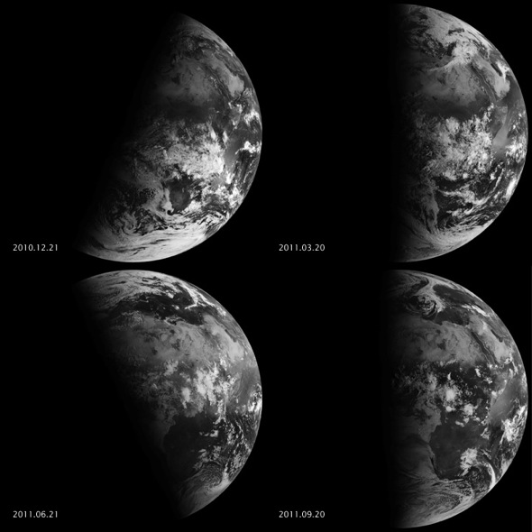 Four images of Earth, two with tilted lined between light and dark, and two with straight lines.