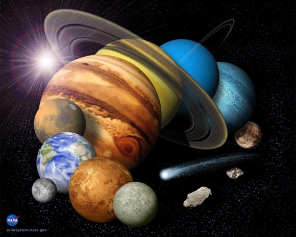 Montage of our solar system.  Image Credit: NASA/JPL