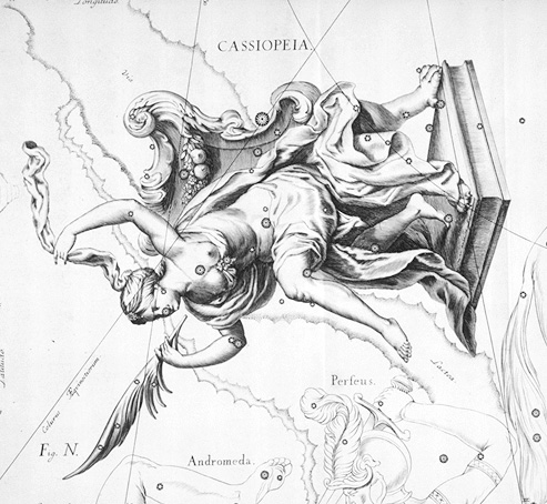 Old-fashioned drawing of Queen Cassiopeia upside down on her throne.