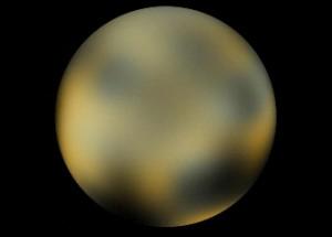 Based on Hubble Space Telescope images, this frame is a portion of a map of the surface of Pluto Credit: NASA, ESA, and M. Buie (Southwest Research Institute)