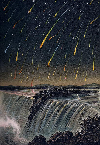 Colored drawing of many red-to-green streaks in sky above Niagara Falls.