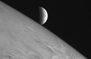 Jupiter's moon Europa rising above Jupiter, captured by the NASA's New Horizons spacecraft. Image credit: NASA, Johns Hopkins U. APL, SWRI