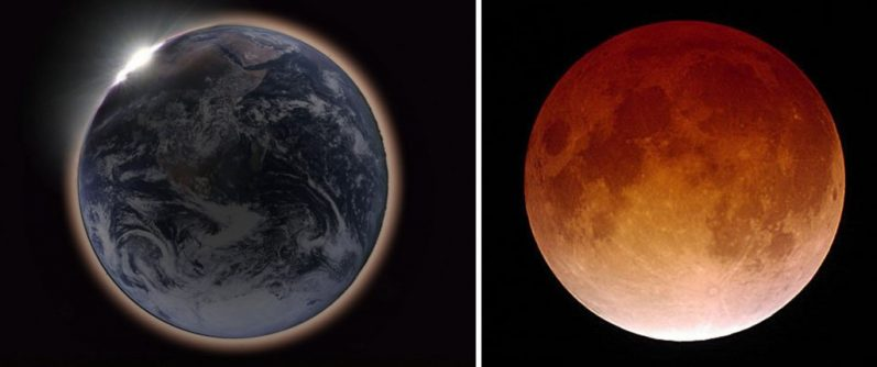 Dark planet Earth with a pink rim on the left. Orange moon on the right.