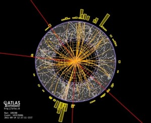 Myriad of particle trails created by collisions detected by ATLAS experiment