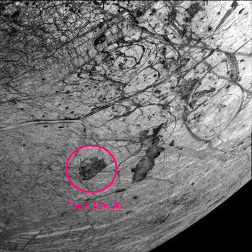 Thera Macula, a 'chaos terrain' on Jupiter's moon Europa thought to cover underground lakes.