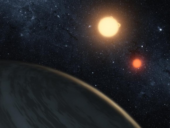 Artist's concept of double star system Kepler-16, as viewed from cold, gaseous planet Kepler-16b.  A moon orbiting this planet might be earthlike, UT Arlington astronomers said in early 2012.  Image Credit: NASA