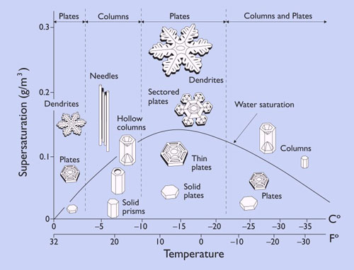 Chart: temp versus humidity with different kinds of snowflakes.