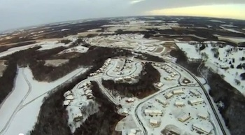 Snow afternoon seen from an R/C plane in Wisconsin.