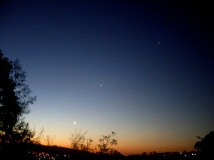 Moon, Venus, Jupiter Feb. 2012, from Brazil via Miquel Berredo