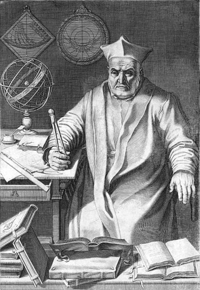 Engraving of bearded man in Renaissance clothing, holding a compass, with books and an orbital globe on a table.