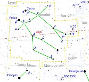 Star chart showing lines between stars of constellation Gemini.