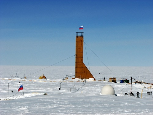 Russian Vostok station and 5G drill tower. (Russian Geographical Society)