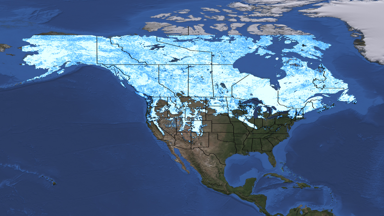 View From Space Snow Cover Compared To Snow Cover - Snow cover map of us