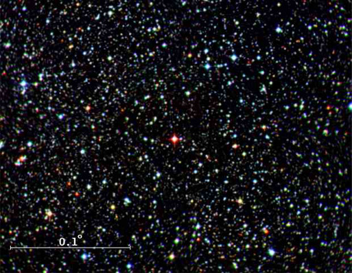 Star field with a red star at center.