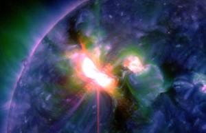 UV flash of solar flare March 7, 2012.  (NASA SDO)
