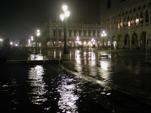 High waters flood a piazza in Venice.