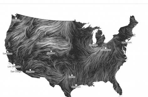 Realtime snapshot of wind currents over USA.