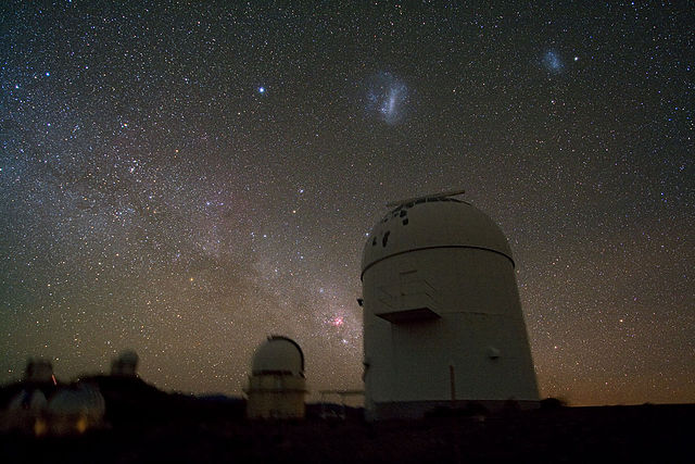 Night time view of La Silla Observatory in Chile where the planets were discovered.