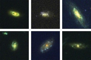 Images from the Hubble Space Telescope of the six galaxies discovered to be recycling gas. Credit: NASA/STScI