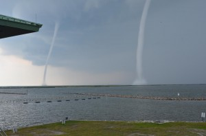Grand Isle, Louisiana pair of waterspouts taken on May 8, 2012. Image Credit: WVUE-TV
