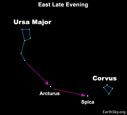 Star chart of Big Dipper and small constellation Corvus, with two bright stars between.