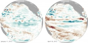 The waters in the Pacific are warming, which means La Niña is fading away. Image Credit: NASA Earth Observatory