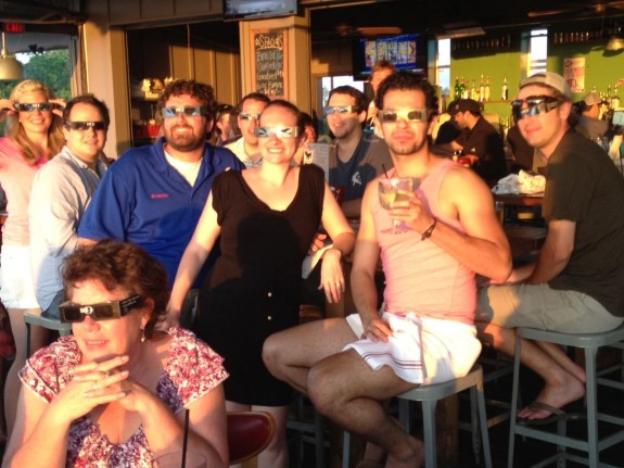 Big fun in Austin, Texas at the May 20, 2012 solar eclipse when an EarthSky employee passed out solar eclipse glasses at a local restaurant.  Way to go, EarthSky's Joni Hall!