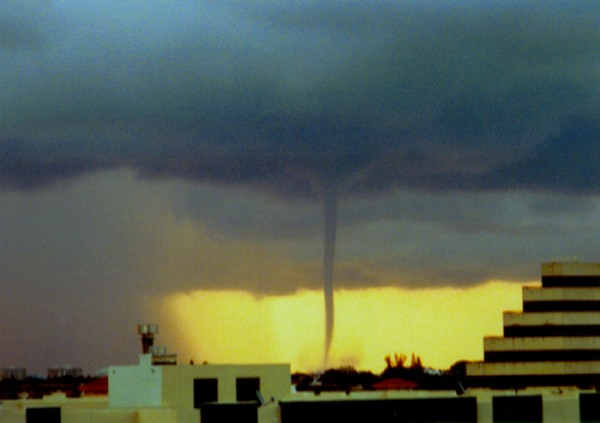 Narrow sinuous funnel from billowing dark clouds to surface, viewed past buildings.