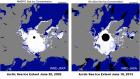 Arctic sea ice June 2002 versus June 2012.
