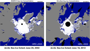 Arctic sea ice June 2002 versus June 2012.
