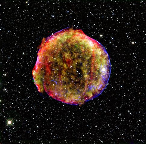 Very colorful ball of gas in space against dense star field.