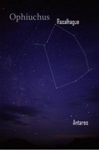 The constellation Ophiuchus lies to the north of the bright star Antares