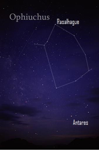 Ring-shaped constellation with star Antares below it.