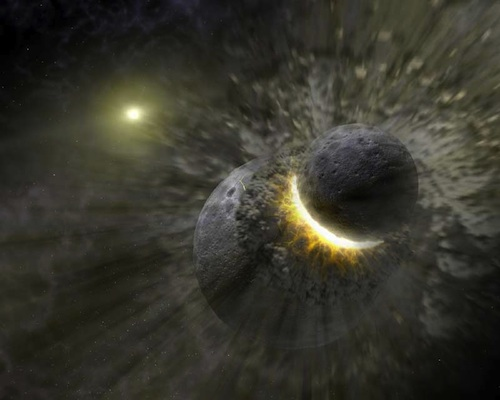A titanic collision of worlds might have created the moons of Pluto, said astronomer Alan Stern. (JPL)