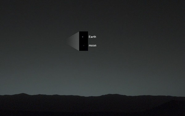 Earth and moon, as seen from Mars by the Curiosity rover on January 31, 2014.  Read more about this image.