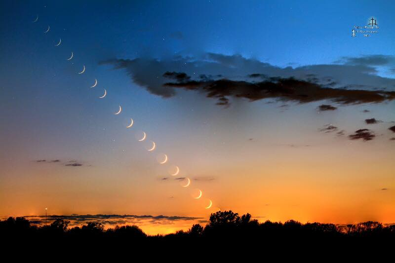 You can tell that Niko Powe lives at a northerly latitude because his photo of the waxing crescent moon - captured June 6, 2016 - descends from left to right. At temperate latitudes in the Southern Hemisphere, the evening crescent moon sets from right to left. Thanks, Niko!