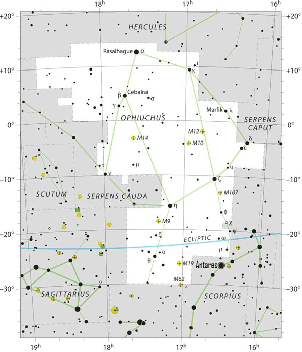 Sky chart of the constellation Ophiuchus