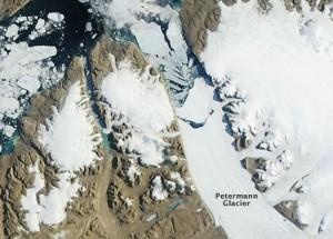 Peterman Glacier on July 17, 2012 via NASA Aqua