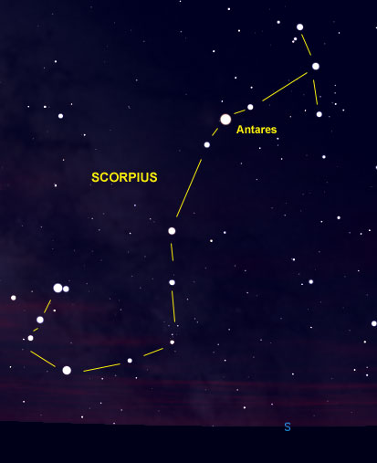 Star chart of hook-shaped constellation with 3 stars at right angle to the straight end.