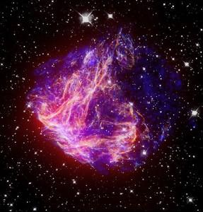 Supernova remnant N49. X-ray: NASA/CXC/Caltech/S.Kulkarni et al.; Optical: NASA/STScI/UIUC/Y.H.Chu & R.Williams et al.; IR: NASA/JPL-Caltech/R.Gehrz et al.
