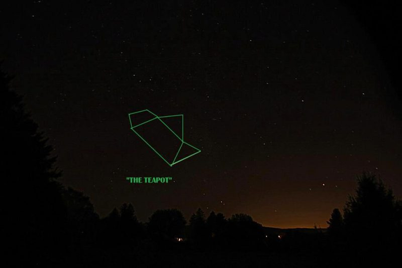 The Teapot asterism in the constellation Sagittarius.  This image is from EarthSky Facebook friend Eileen Claffey.  She captured it in mid-September 2012.  At that time of year, Sagittarius is headed toward the sunset glare.