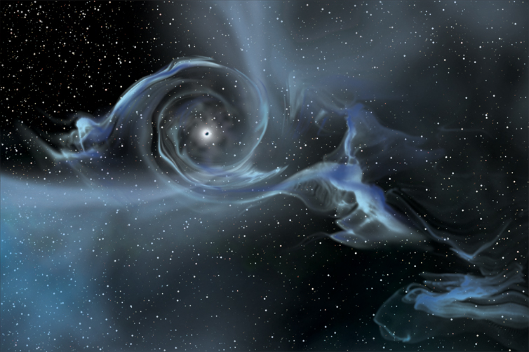 Artist's rendition of a black hole.