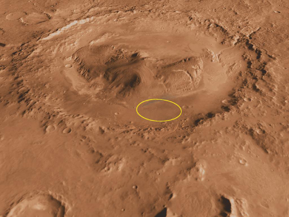 Curiosity's location within the gale crater on mars image credit