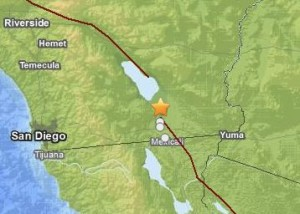 Earthquakes east of San Diego August 26, 2012