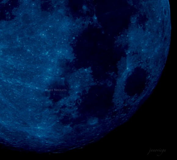 Closeup of part of moon colored deep blue.